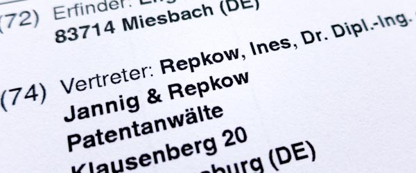 Image on Patent Attorney Repkow page of JANNIG & REPKOW - German and European Patent Attorneys